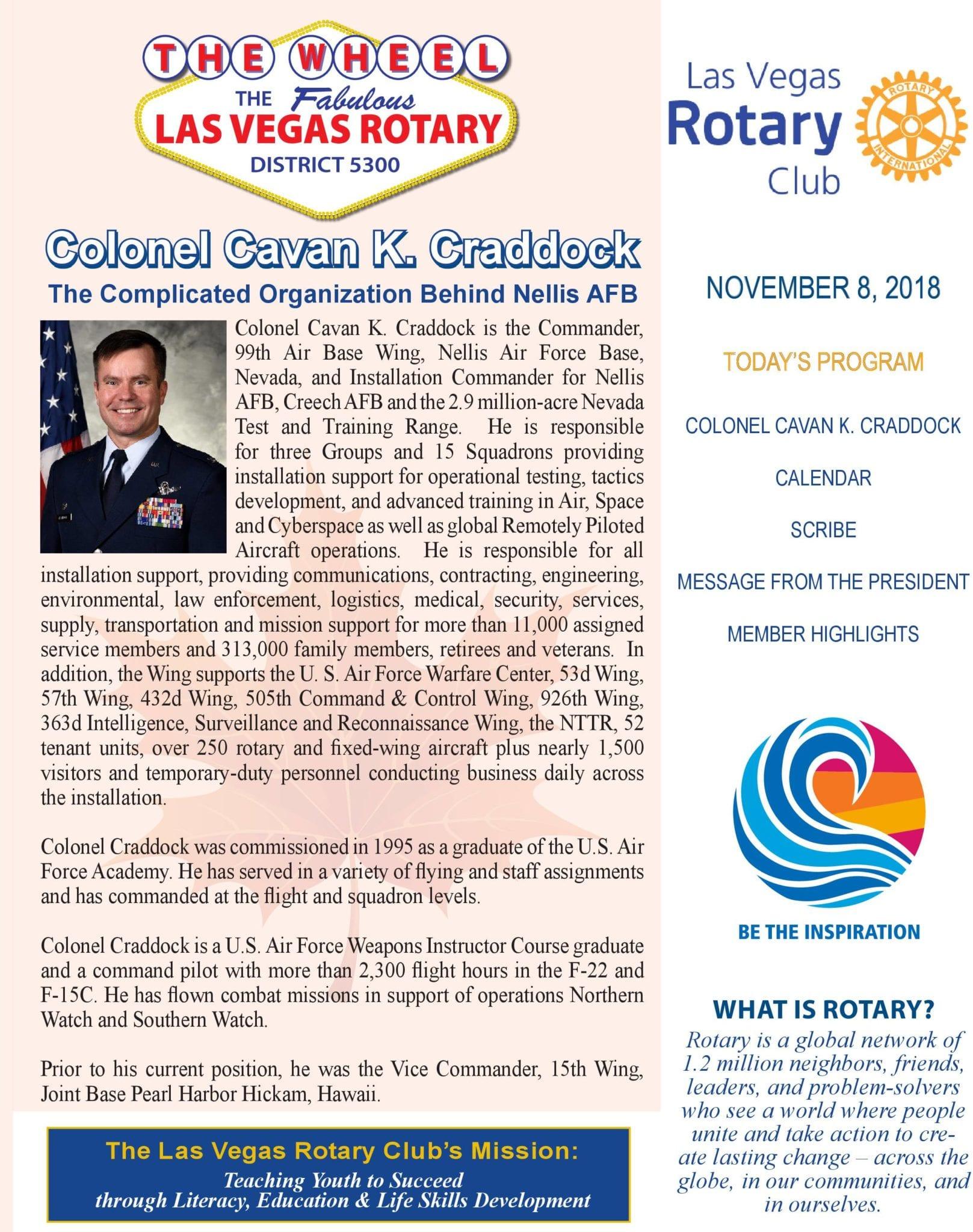 The Wheel For November 8 2018 Las Vegas Rotary Club